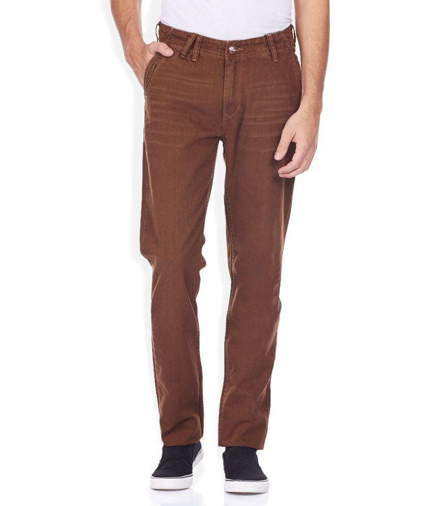 Ed Hardy Brown Solid Flat Front Trousers