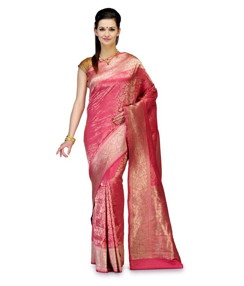 Fabroop Pink Katan Silk Saree