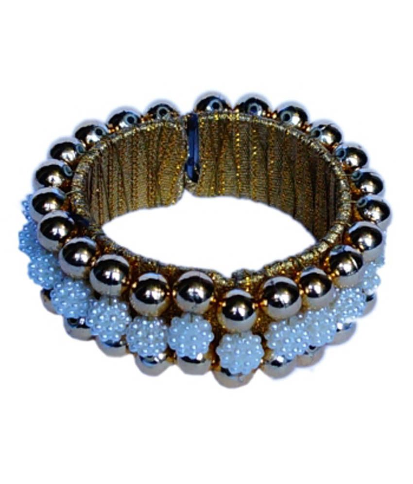 Grind Sapphire Red Pearl And Beads Fabric Bangle