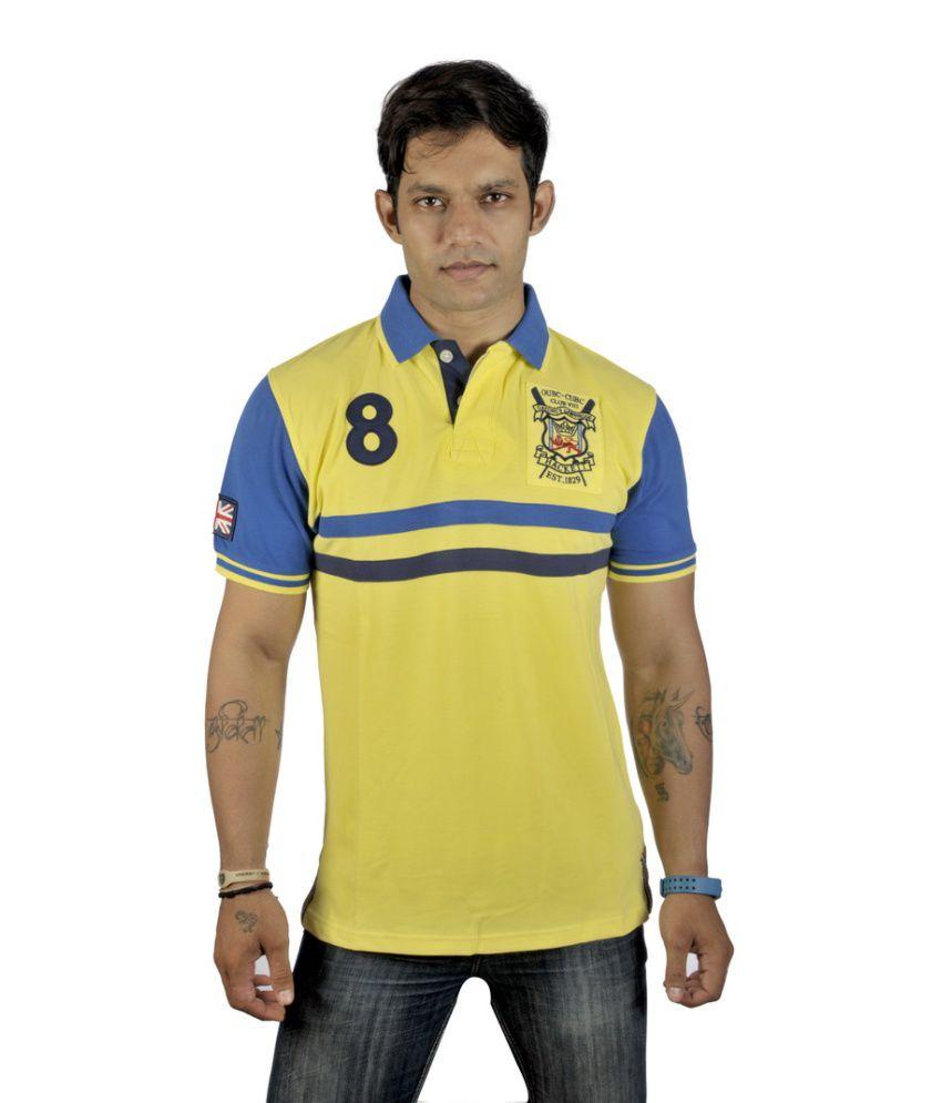 Hacktt London Yellow Cotton T Shirt