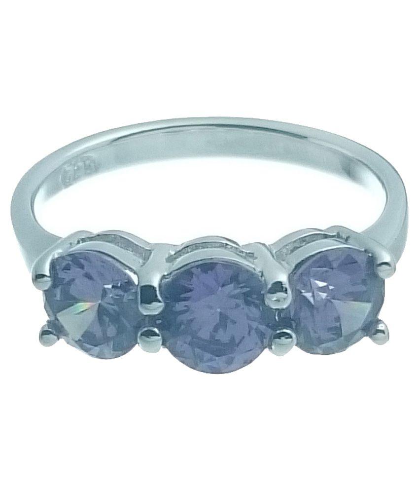 Ropya 3 CZ 925 Sterling Silver Rhodium Plated Ring