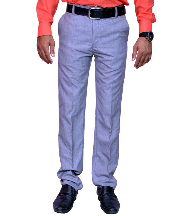 V2k Fashion Gray Cotton Formal Trousers