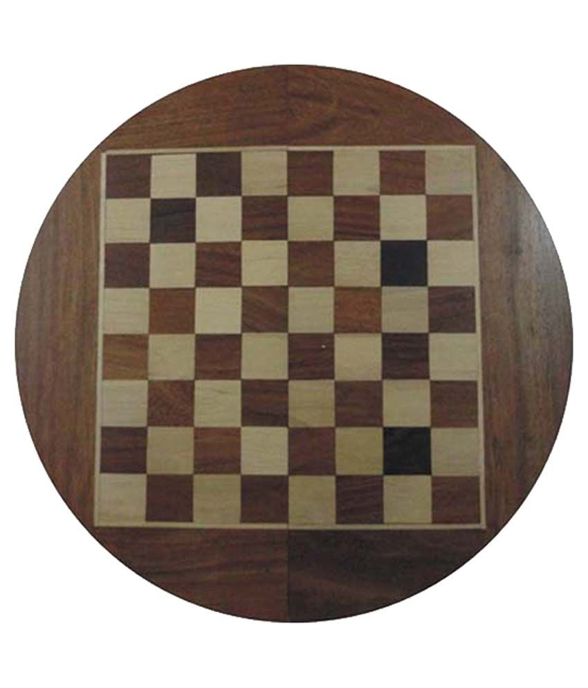 Vishal Exports Brown Wooden Round Chess Board - 6 Inch