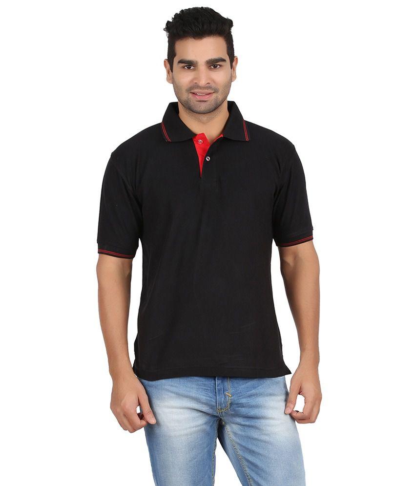 Charles Black Cotton Half Sleeves T-shirt