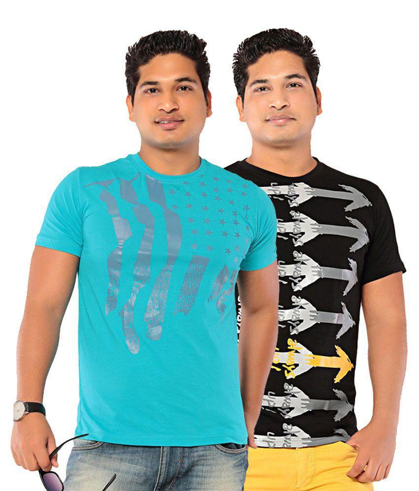 Ebry Multicolor Cotton T Shirt- Combo of 2