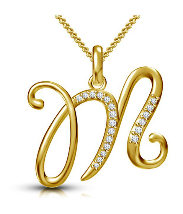 kataria jewellers letter m gold plated 92 5 sterling silver and