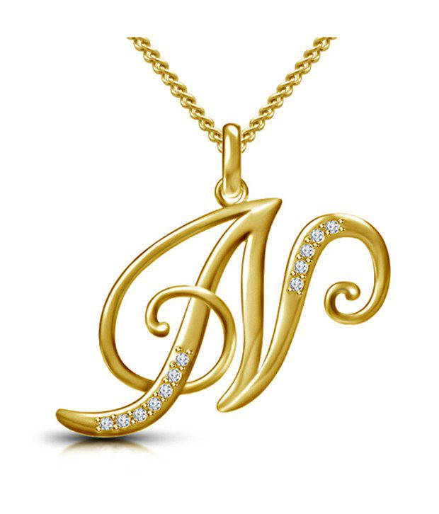 Kataria Jewellers Letter N Gold Plated 92 5 Sterling Silver And