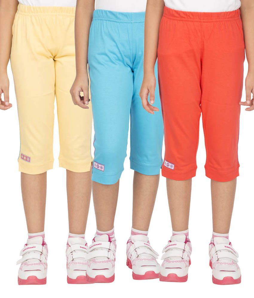 Ocean Race Multicolor Cotton Elastic Capris - Pack of 3