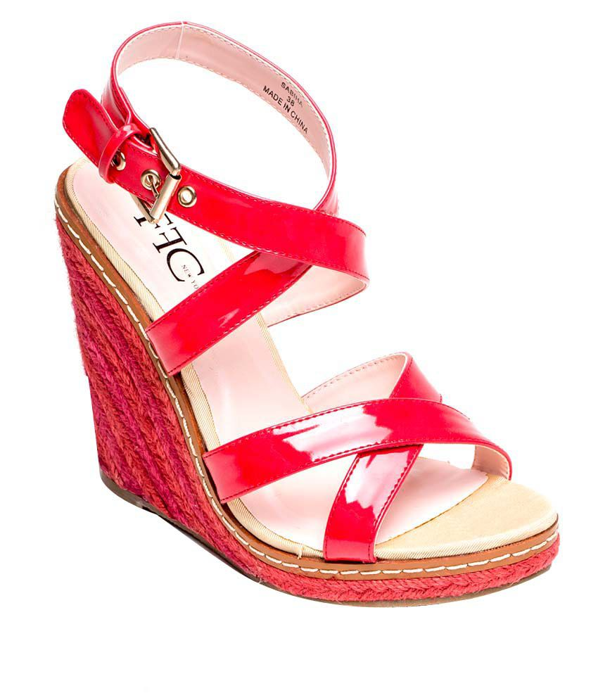 Ffc New York Red Wedges Heeled Sandal