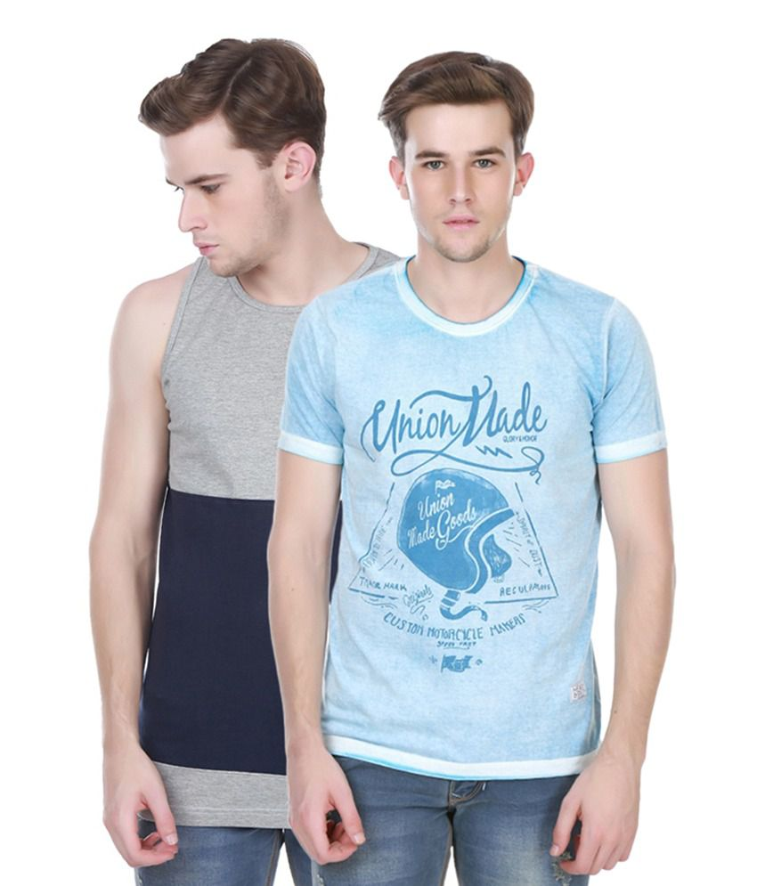 Henry and Smith Gray & Blue Cotton Printed T-shirts (Pack of 2)