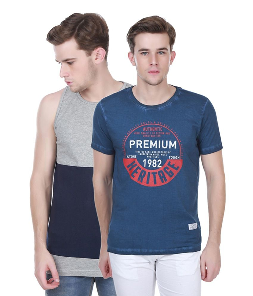 Henry and Smith Gray & Navy Blue Cotton Printed T-shirts (Pack of 2)