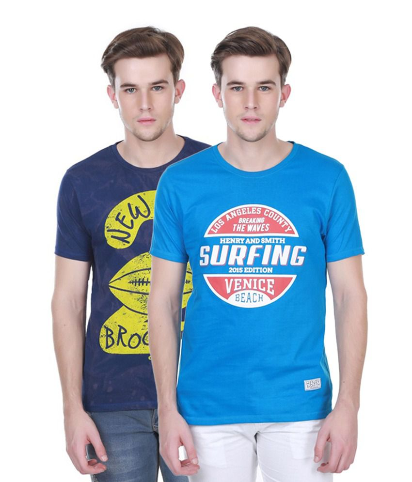 Henry and Smith Navy Blue & Blue Cotton Printed T-shirts (Pack of 2)
