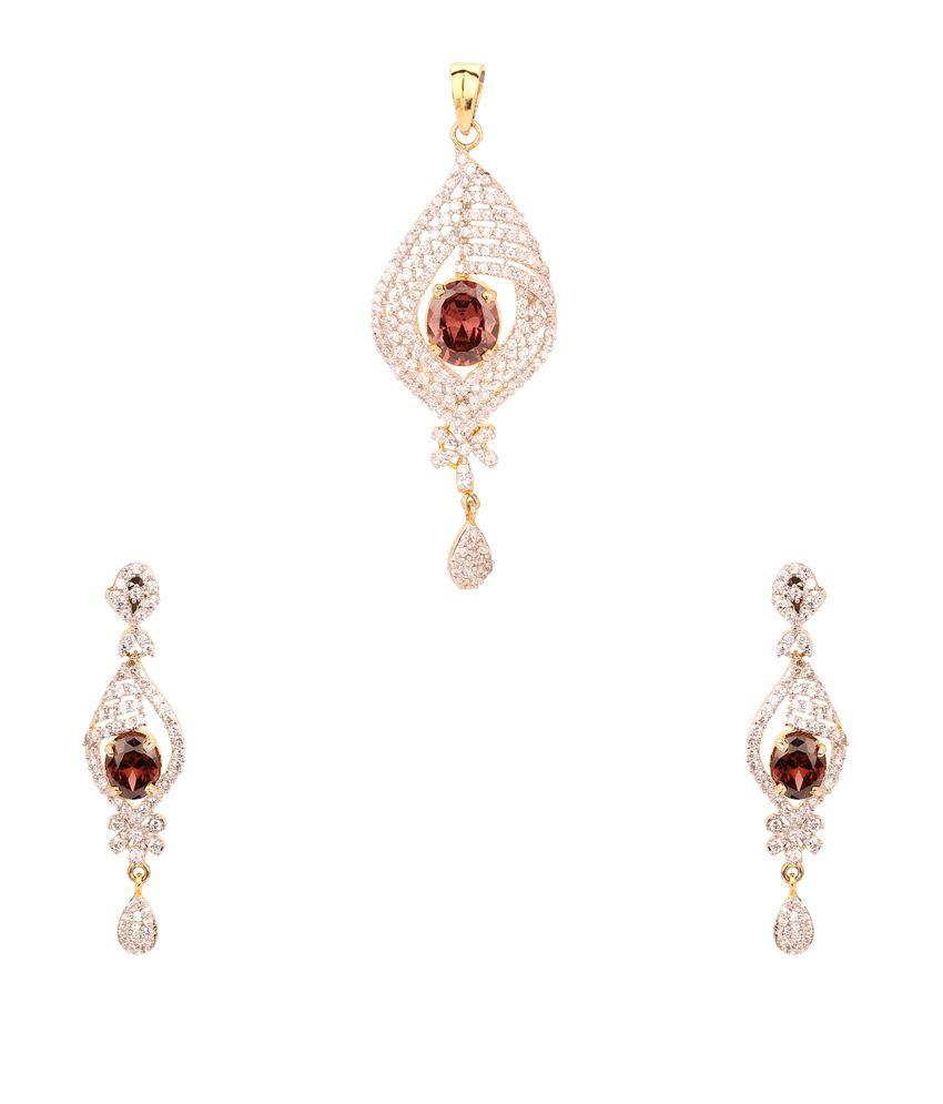Jewlook Gold American Diamond Designer Earrings