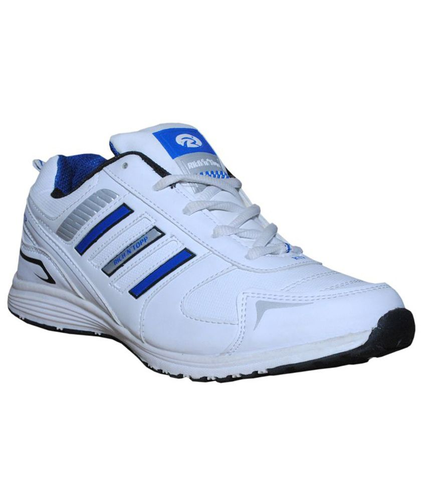 Rich N Topp White and Blue Synthetic Leather Sport Shoes
