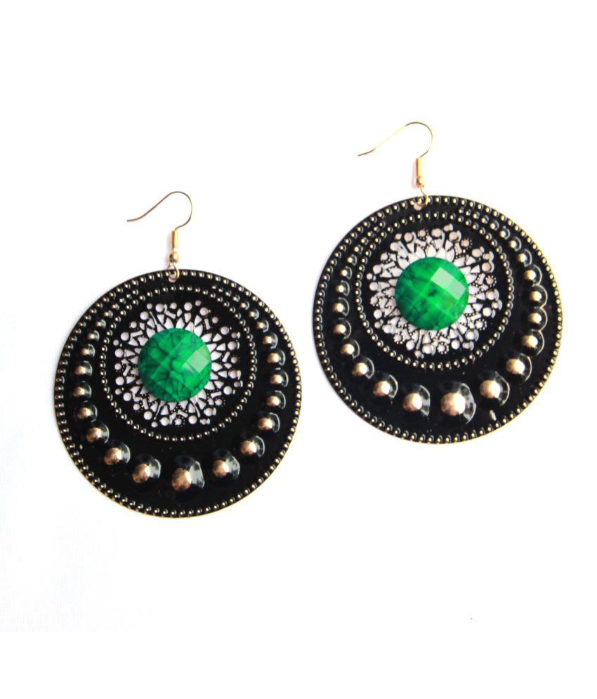 Star Collection Golden Alloy Antique Earrings
