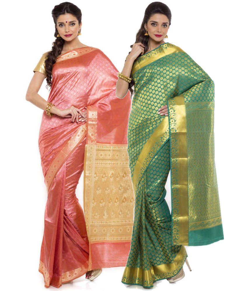 Sudarshan Silks Pink and Green Art Silk Pack of 2