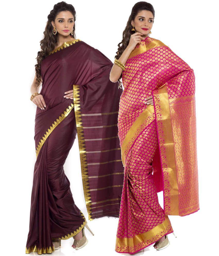 Sudarshan Silks Pink and Maroon Art Silk Pack of 2