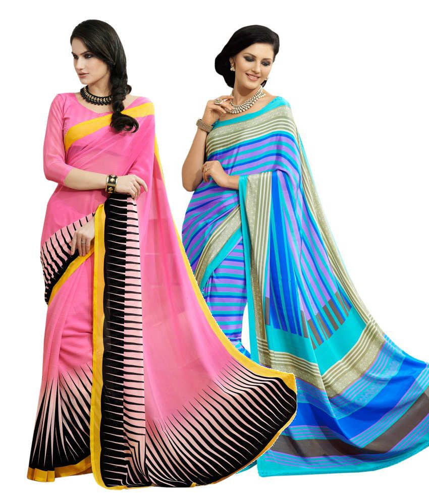 Aaboli Pink and Blue Art Silk Pack of 2