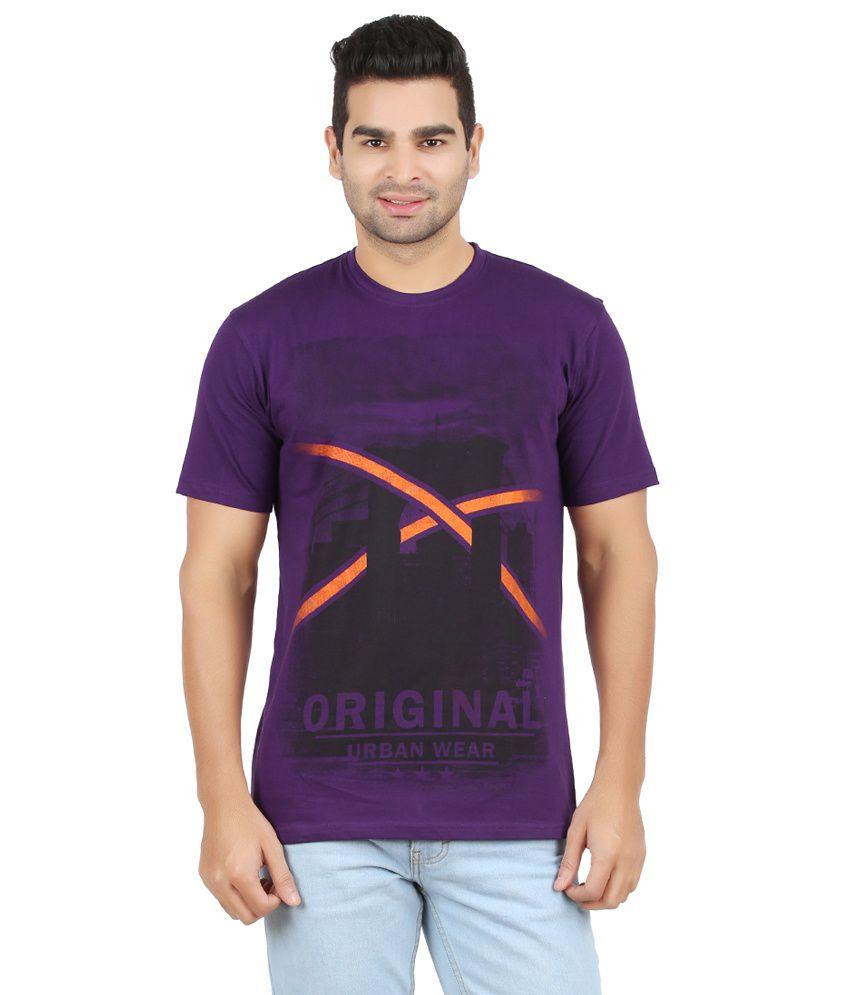 Chevy Purple Cotton Round Neck T-Shirt