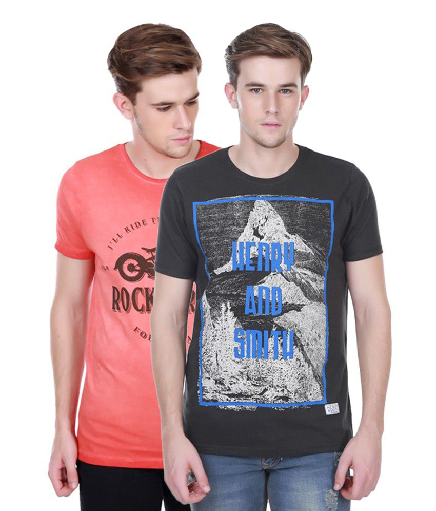 Henry and Smith Black & PeachPuff Cotton Printed T-shirts (Pack of 2)