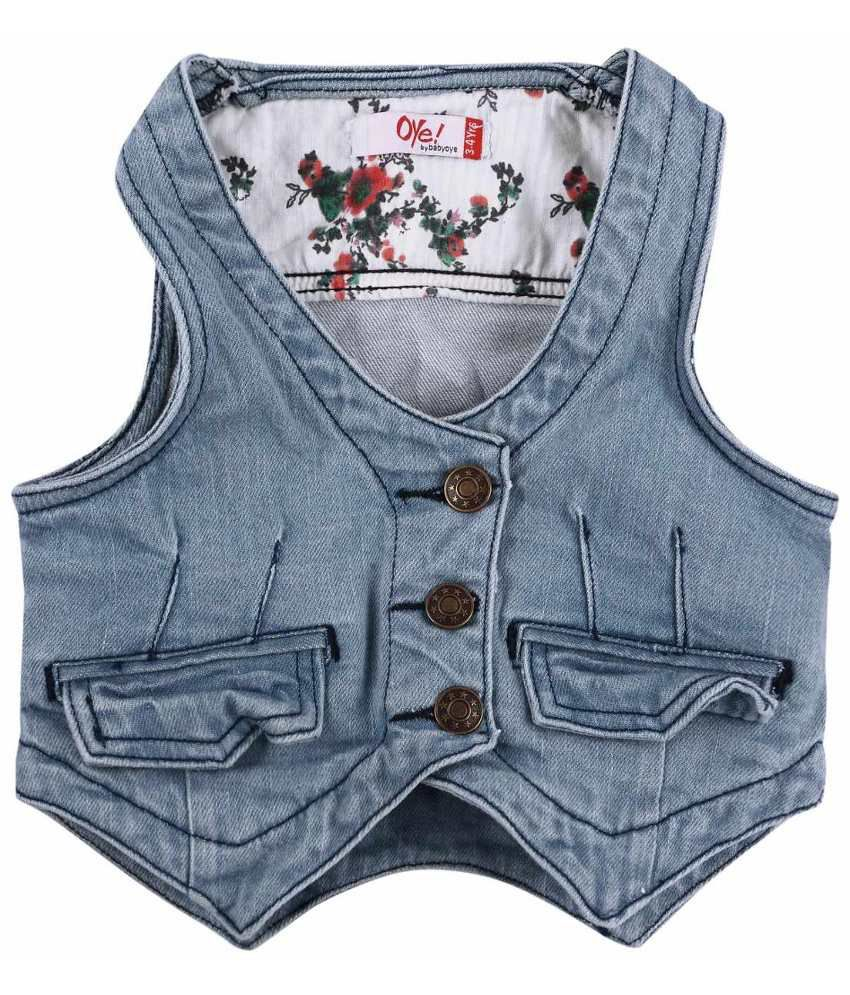 Oye Light Blue Denim Vest Jacket for Girls