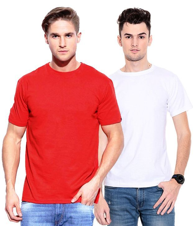 Smart7 Red Cotton Round Neck Half Sleeves T-shirt - Pack Of 2
