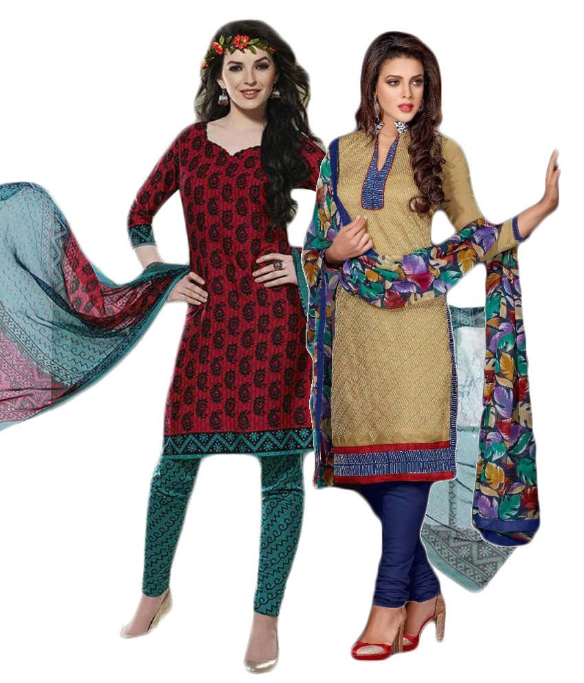 Sree Impex Maroon and Beige Others Unstitched Dress Material