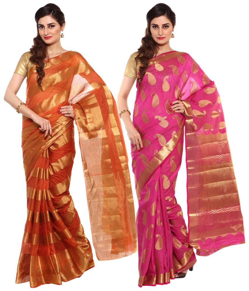Sudarshan Silks Orange & Pink Raw Silk Pack of 2