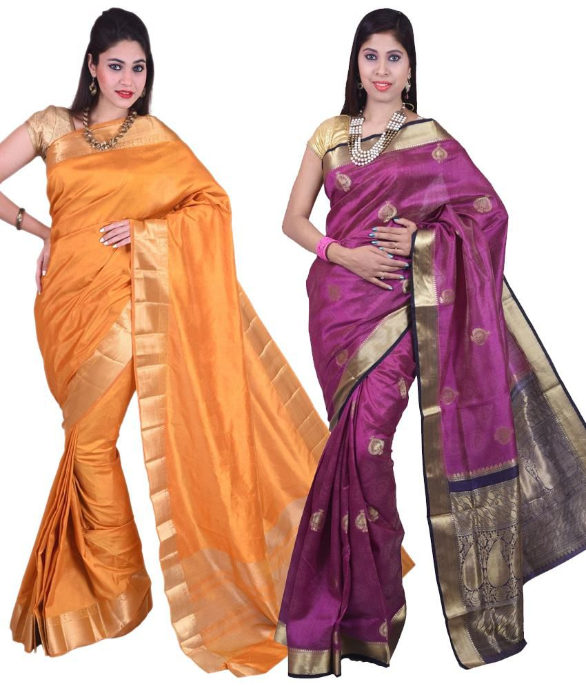 Sudarshan Silks Purple & Yellow Raw Silk Pack of 2