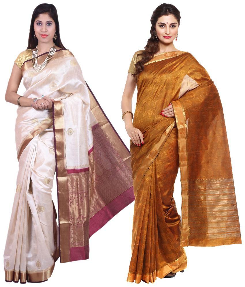 Sudarshan Silks Yellow & White Raw Silk Pack of 2