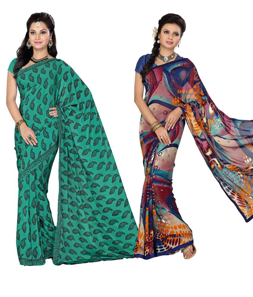 Vritika Green & Blue Art Silk Pack of 2