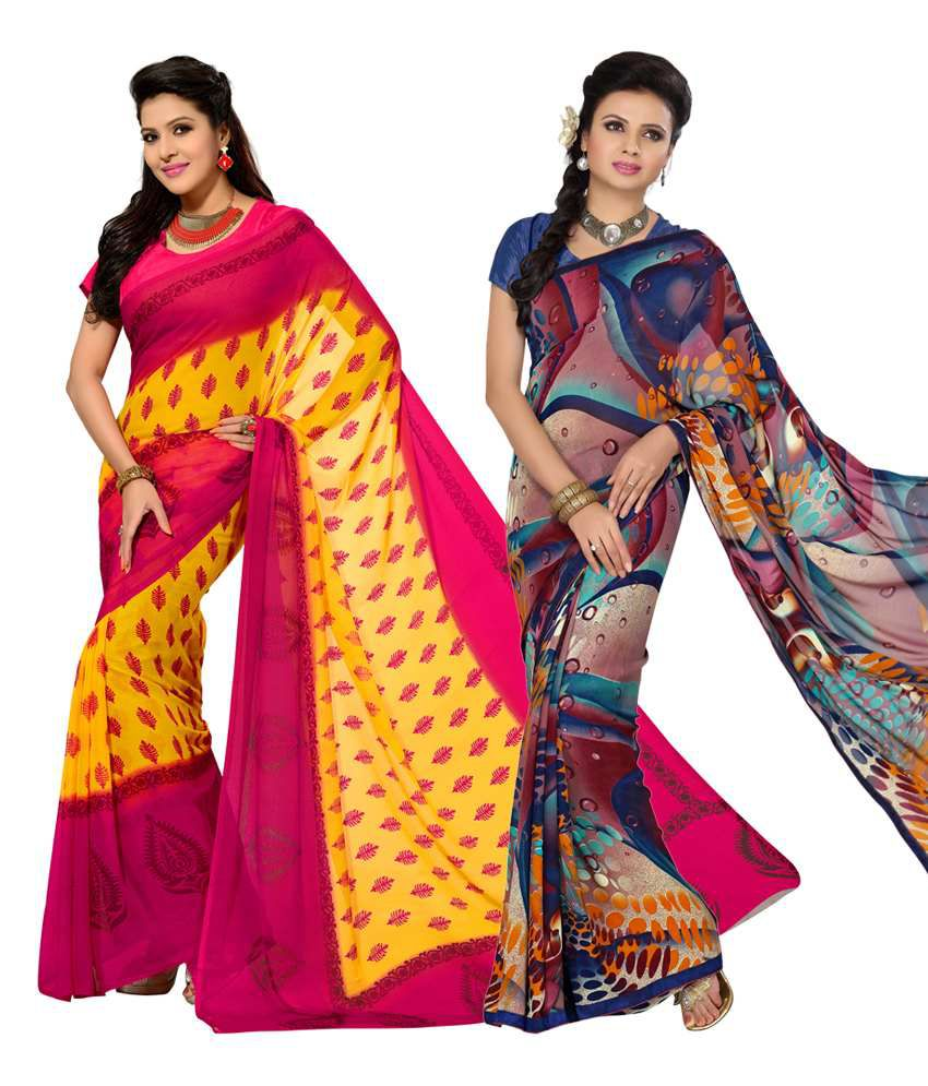 Vritika Pink & Blue Art Silk Pack of 2