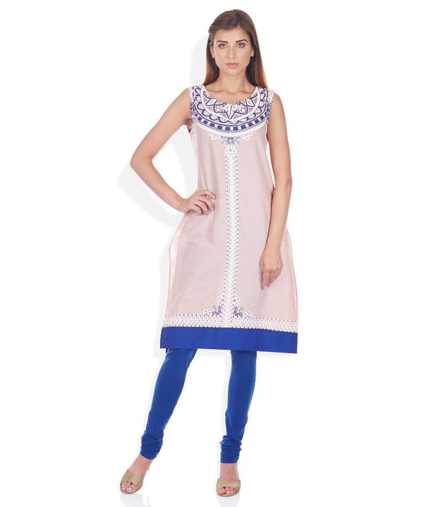 W Pink & Blue Printed Kurta