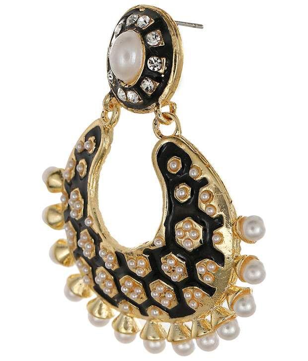 Amroha Crafts Black Daily Wear Huggies Earrings
