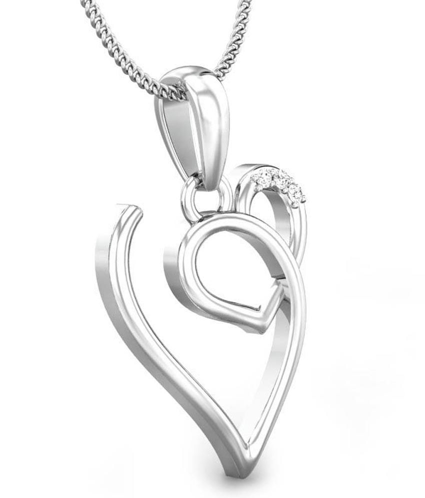 Candere V Love White Gold 18K Diamond Pendant