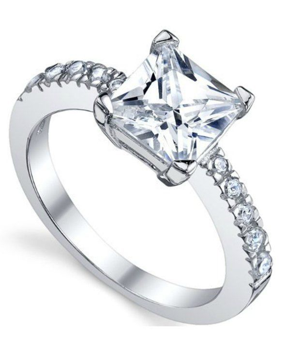 RM Jewellers 92.5 Sterling Silver Centre Focused Hallmarked Cubic Zirconia Ring