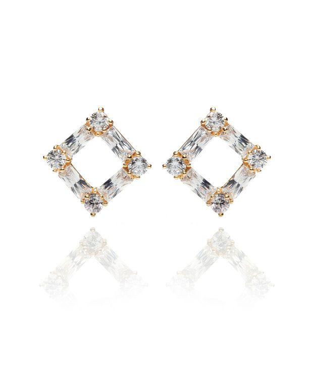 Svvelte Gold Led Free Alloy Stud Earrings