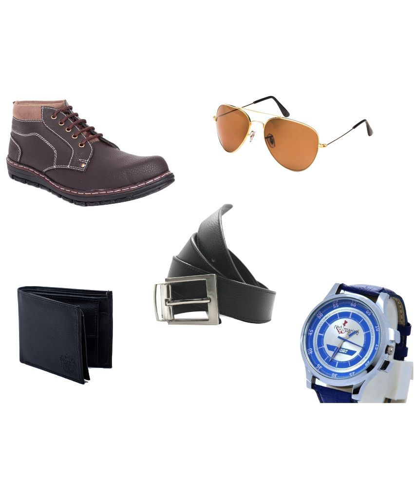 Adam Step Boots, Red Marine Watch, LYDC Sunglasses, Belt And Wallet Combo