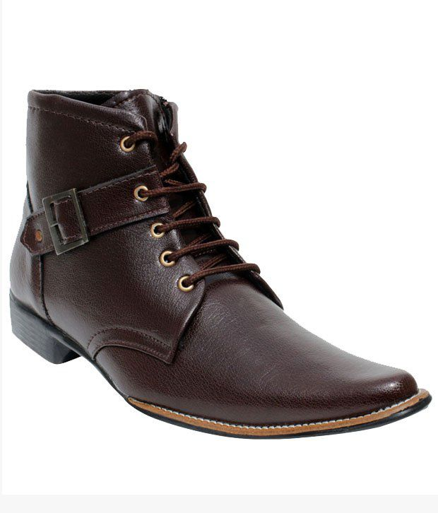 Ambey Traders Brown Synthetic Leather Lace Men Boots