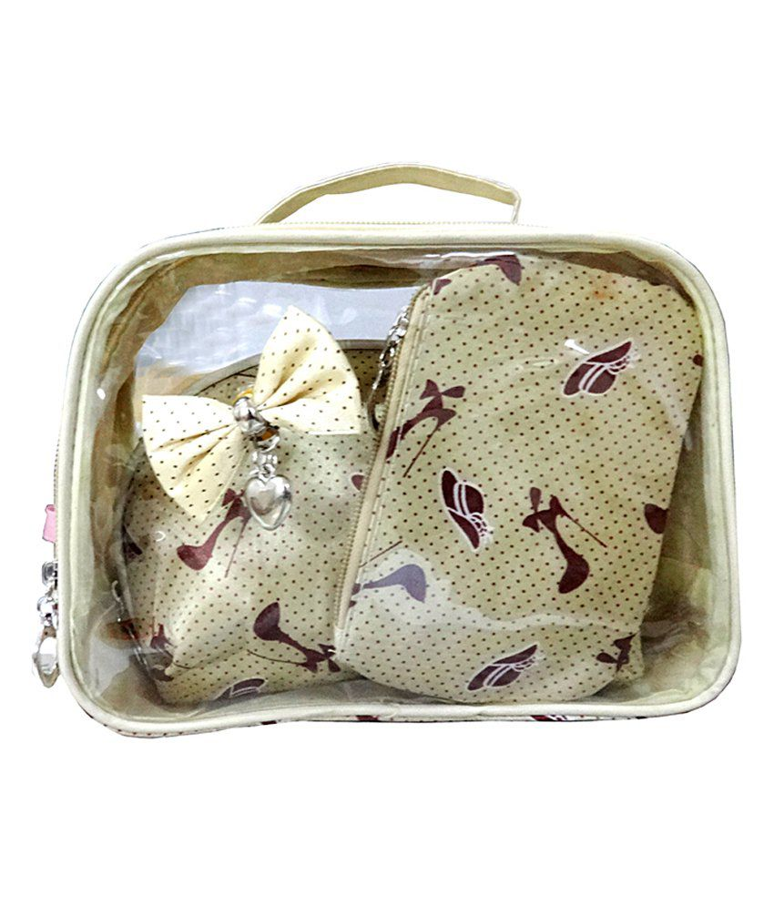 Just For Me Synthetic Vanity Kit And Pouches Combo Of 3-Golden