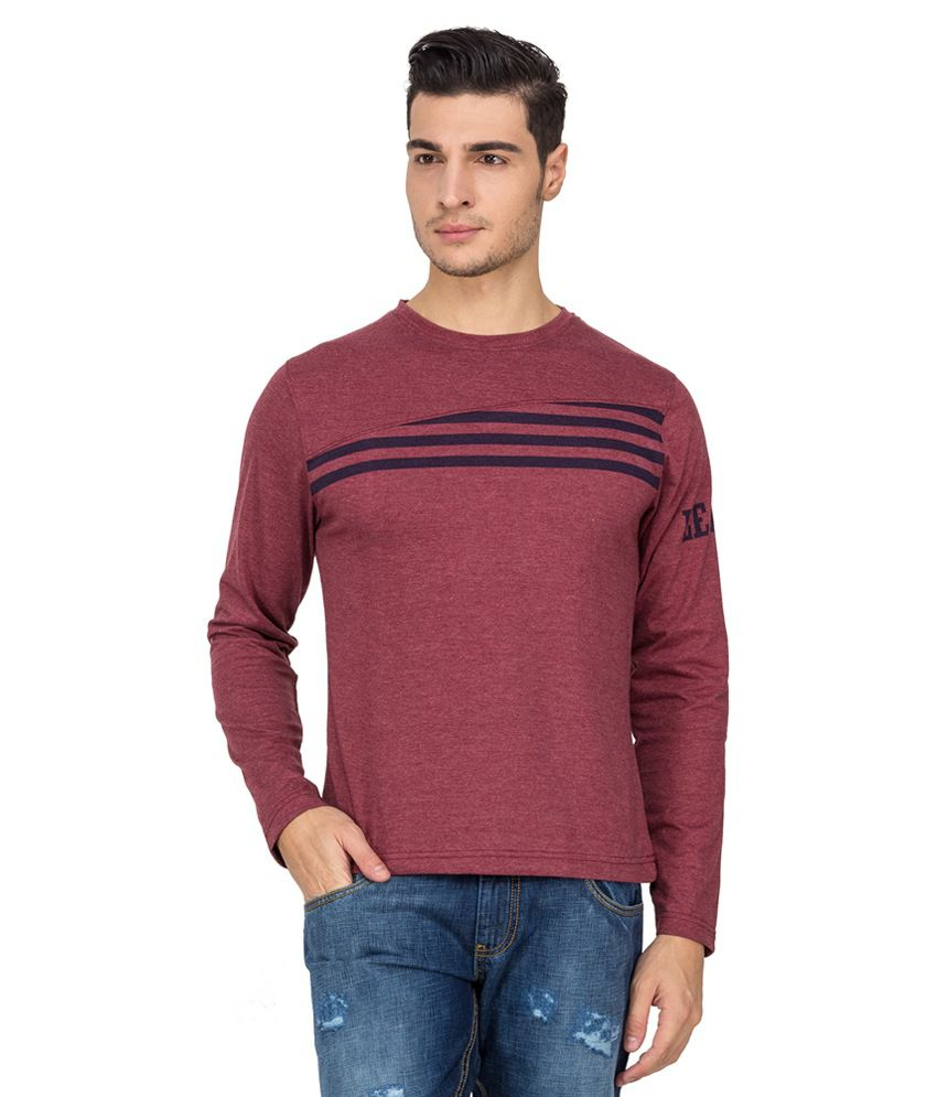 Le Bison Maroon Cotton Round Neck Full Sleeves T-Shirt