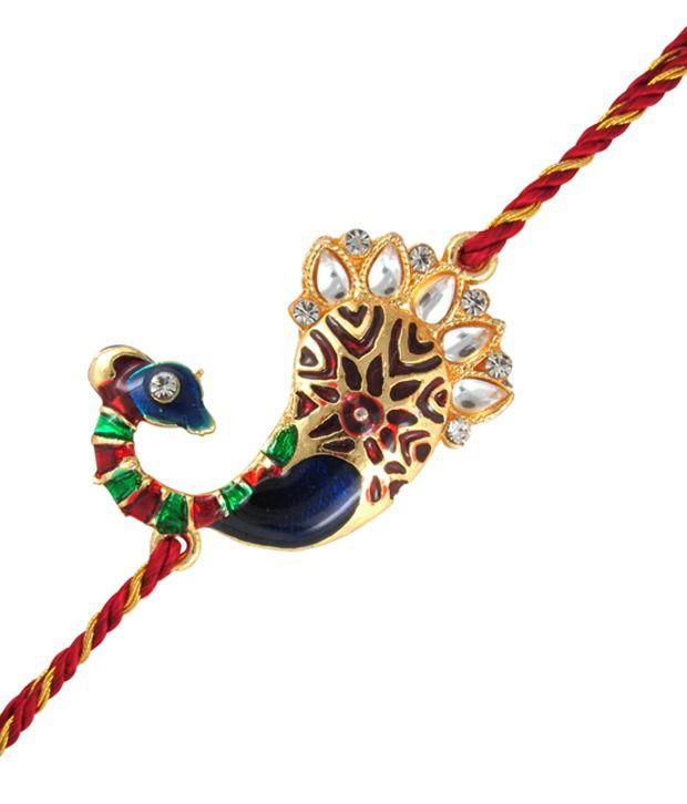 Mahi Gold Plated Alluring Peacock Rakhi