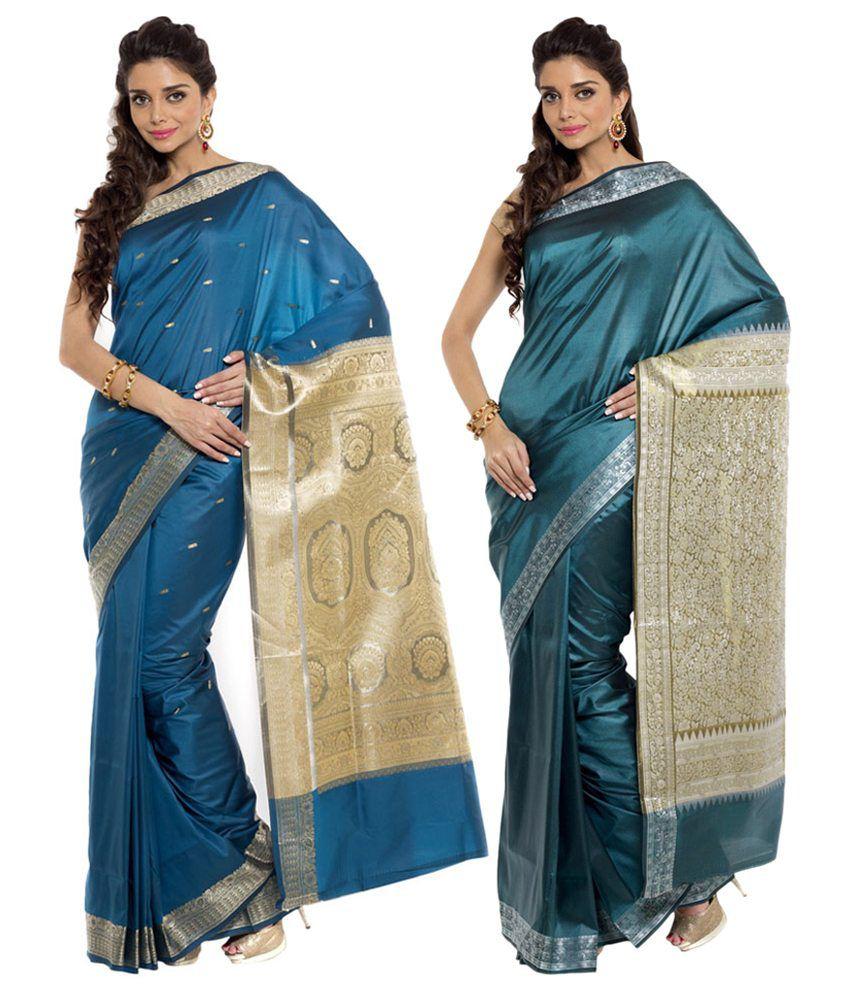 Sudarshan Silks Blue Ar Silk Pack of 2