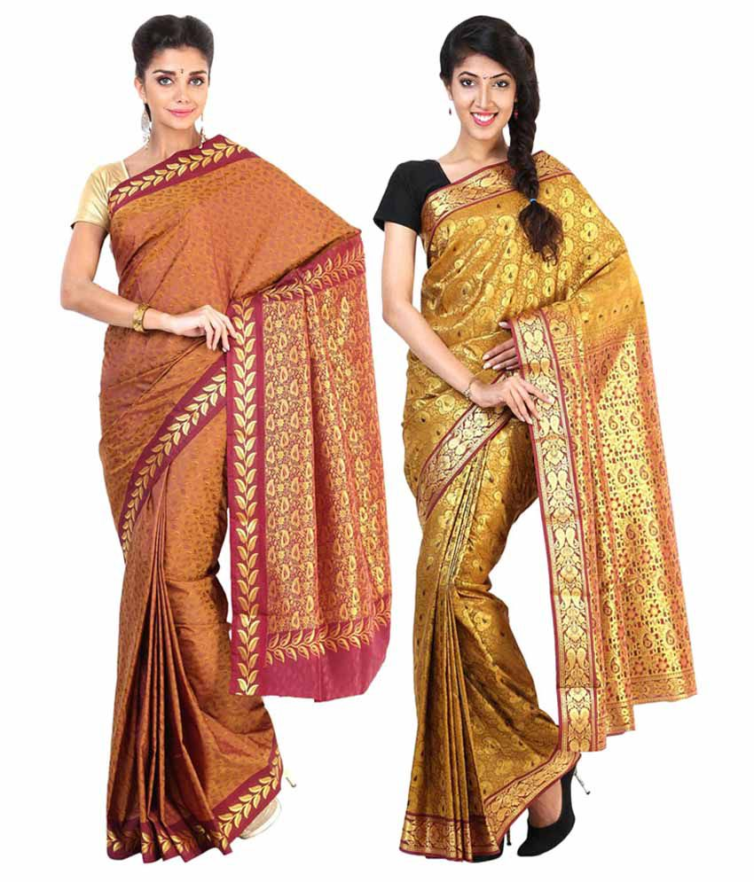 Sudarshan Silks Gold & Brown Semi Chiffon Pack of 2