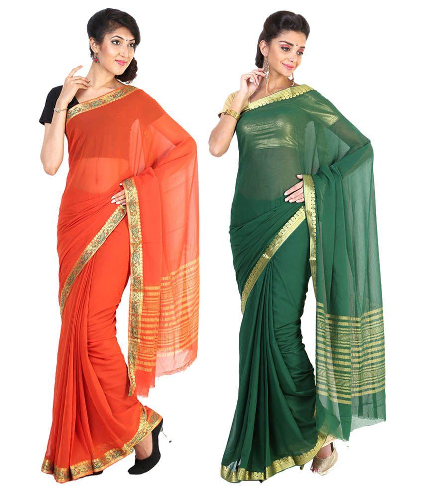 Sudarshan Silks Green & Orange Semi Chiffon Pack of 2