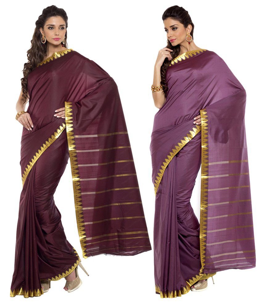 Sudarshan Silks Maroon and Purple Ar Silk Pack of 2