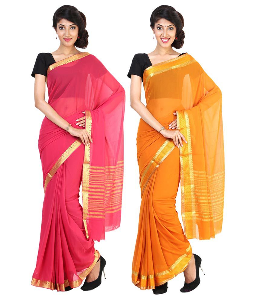 Sudarshan Silks Orange & Pink Semi Chiffon Pack of 2
