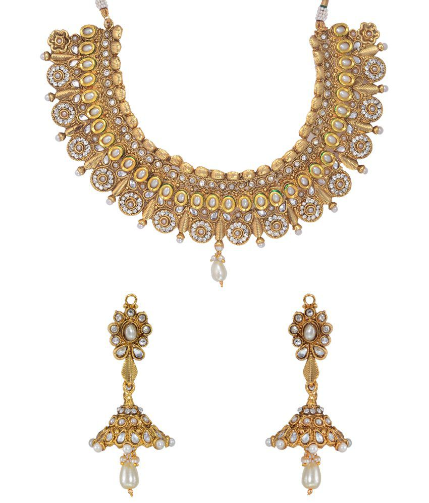 Utsokt White & Golden CZ N Pearl Necklace Set