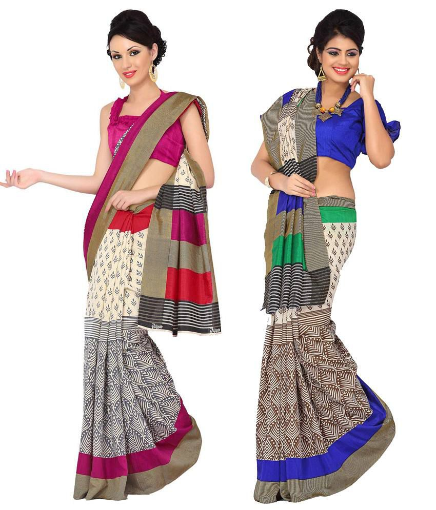 Womantra Pink & Blue Bhagalpuri Silk Pack of 2