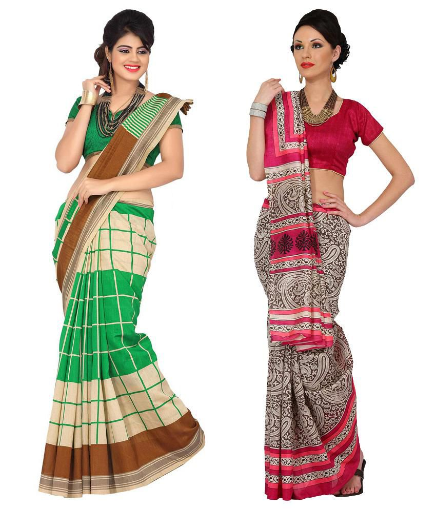 Womantra Pink & Green Bhagalpuri Silk Pack of 2